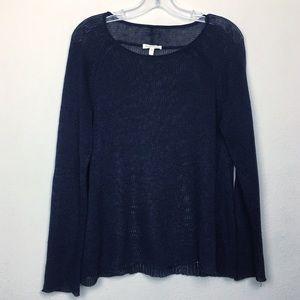 Eileen Fisher Navy Long Sleeve Linen Sweater